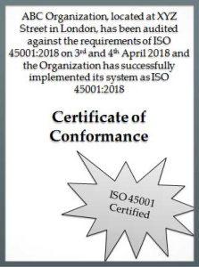 ISO 45001 dummy certificate