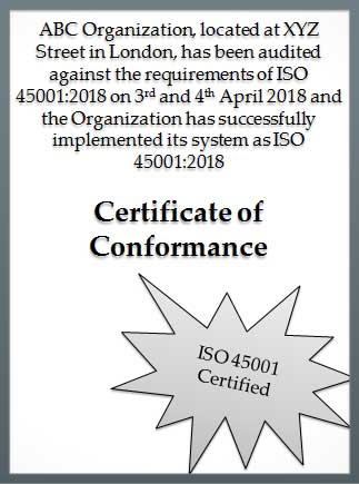 ISO 45001 dummy certificate